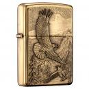 之宝(Zippo)打火机 高山鹰 拉丝黄铜徽章20854 煤油防风火机