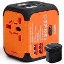 四万公里 全球通用转换插头双USB出国旅行国际多国万能插座港版日本欧美英德标多功能电源转换器 SW6008 橙色
