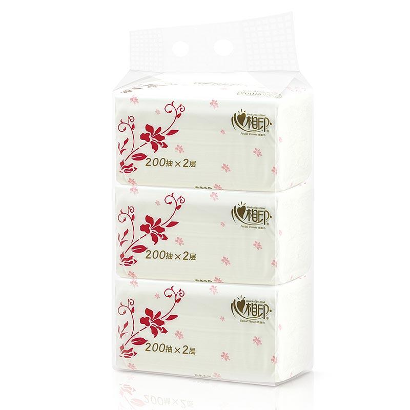 心相印 RDT200 商用200抽塑装软抽双层面巾纸 3包/提