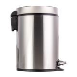 得力 18831脚踏式垃圾桶 292*204MM 银白色 5L主流容量 不锈钢材质 防指纹处理  无躁缓降 独立内桶 配置垃圾袋固定孔