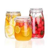 夸克密封罐3件套玻璃食品瓶子蜂蜜檸檬百香果瓶泡菜壇子帶蓋家用小儲物罐子 圓形750mL+1000mL+1500mL
