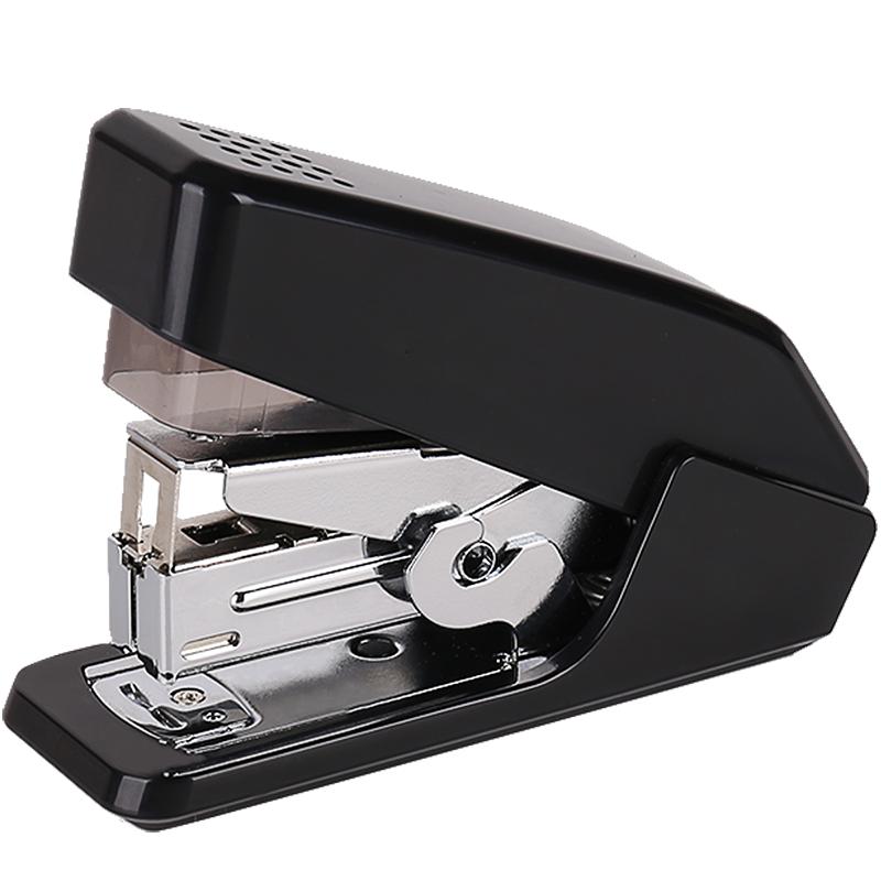 得力(deli)省力结构订书机/装订器 一指按压 适配12#钉 可装100枚钉 黑色 0467
