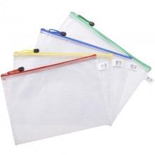 晨光(M&G)ADM94506 透明网格拉?#21019;鼃文件袋 A4 12个/包 颜色随机