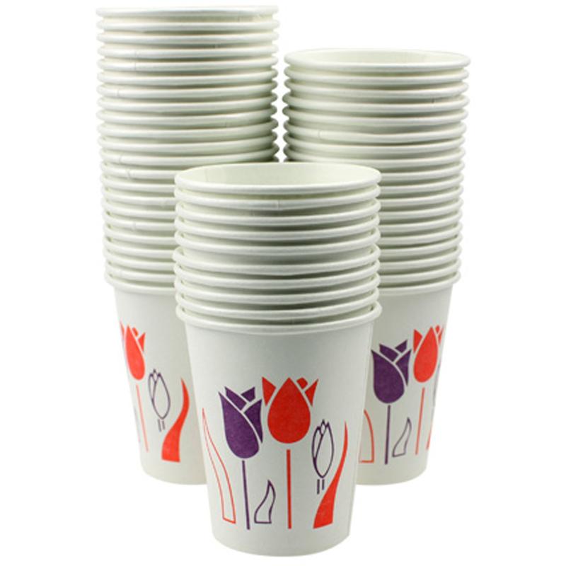 绿奥一次性纸杯(紫红花朵)150G精装纸杯 50个/提