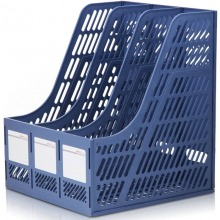 得力(deli)9847 经济型三联文件框/文件栏/文件筐 蓝色