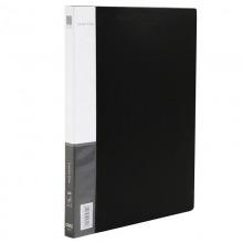 得力(deli)5301 经济型文件夹 A4 单强力夹+插袋 黑色 12只/包