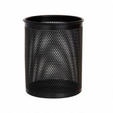 得力(DeLi)909 高级金属网纹笔筒 圆形 黑色