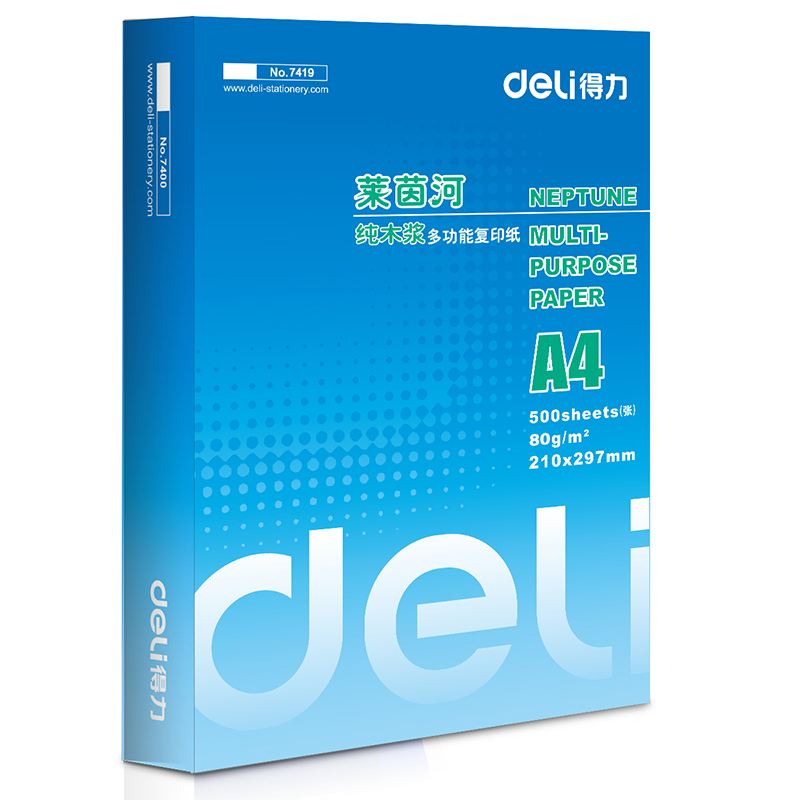得力(Deli)7419-莱茵河80克A4复印纸 5包/箱 整箱2500张