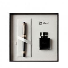 毕加索(pimio)5505 钢笔签字笔墨水笔+墨水礼盒套装商务办公书写0.5mm 亮黑金夹