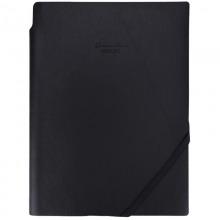 得力(deli)25K96张可插笔绑带皮面本 文具记事本工作笔记本子 黑色22215