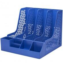 得力(deli)78981 加厚型带笔筒四联文件框 蓝色
