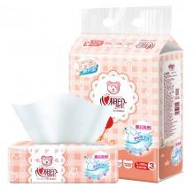 心相印婴儿抽纸 3层120抽面巾纸*3包(大规格/两款包装随机发货)软抽
