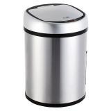 得力(deli)9550 不锈钢自动感应垃圾桶 加厚静音 8L 银色